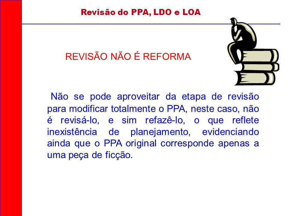 Revisão do PPA, LDO e LOA REVISÃO NÃO É REFORMA.