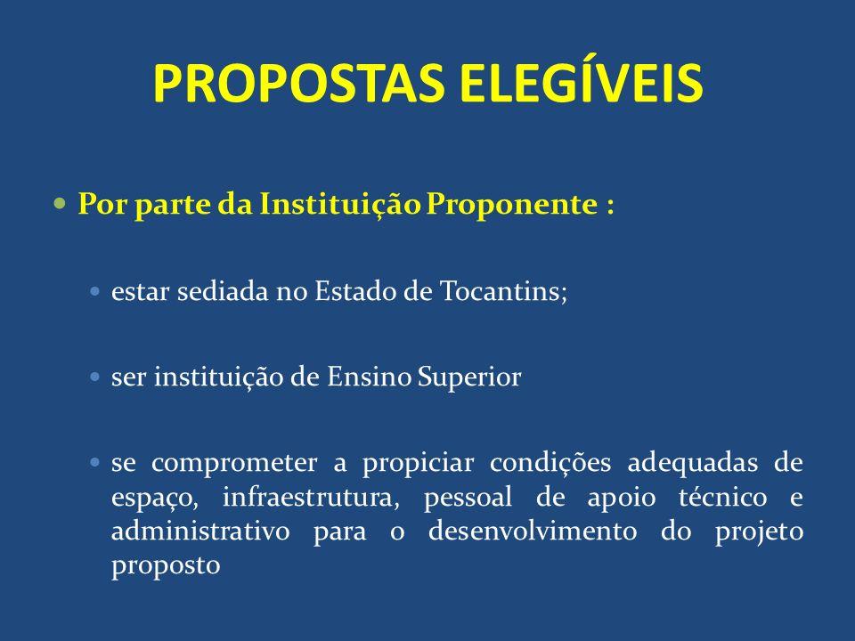 PROPOSTAS ELEGÍVEIS Por parte da Instituição Proponente :