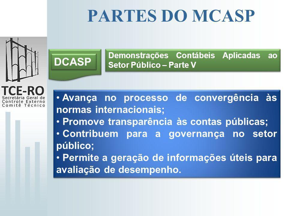 PARTES DO MCASP Demonstrações Contábeis Aplicadas ao Setor Público – Parte V. DCASP. Avança no processo de convergência às normas internacionais;