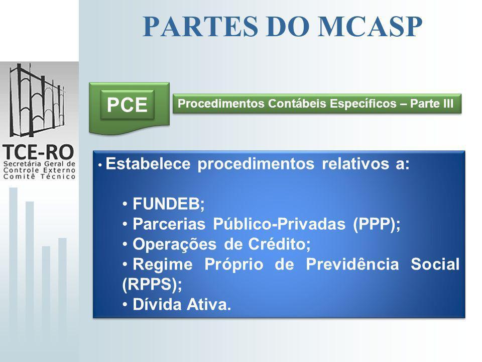 PARTES DO MCASP PCE FUNDEB; Parcerias Público-Privadas (PPP);