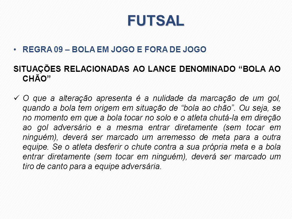 FUTSAL REGRA 09 – BOLA EM JOGO E FORA DE JOGO