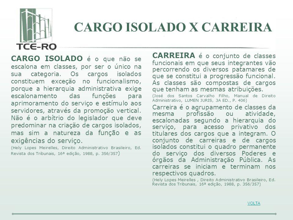 CARGO ISOLADO X CARREIRA