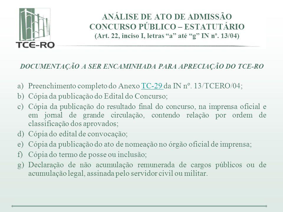 DOCUMENTAÇÃO A SER ENCAMINHADA PARA APRECIAÇÃO DO TCE-RO