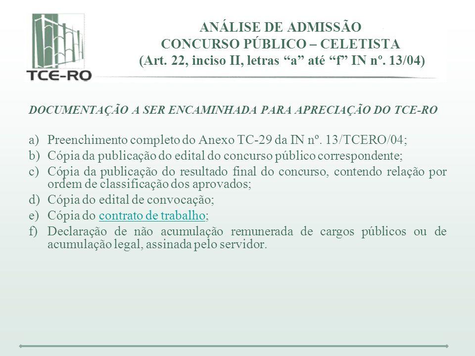 ANÁLISE DE ADMISSÃO CONCURSO PÚBLICO – CELETISTA (Art