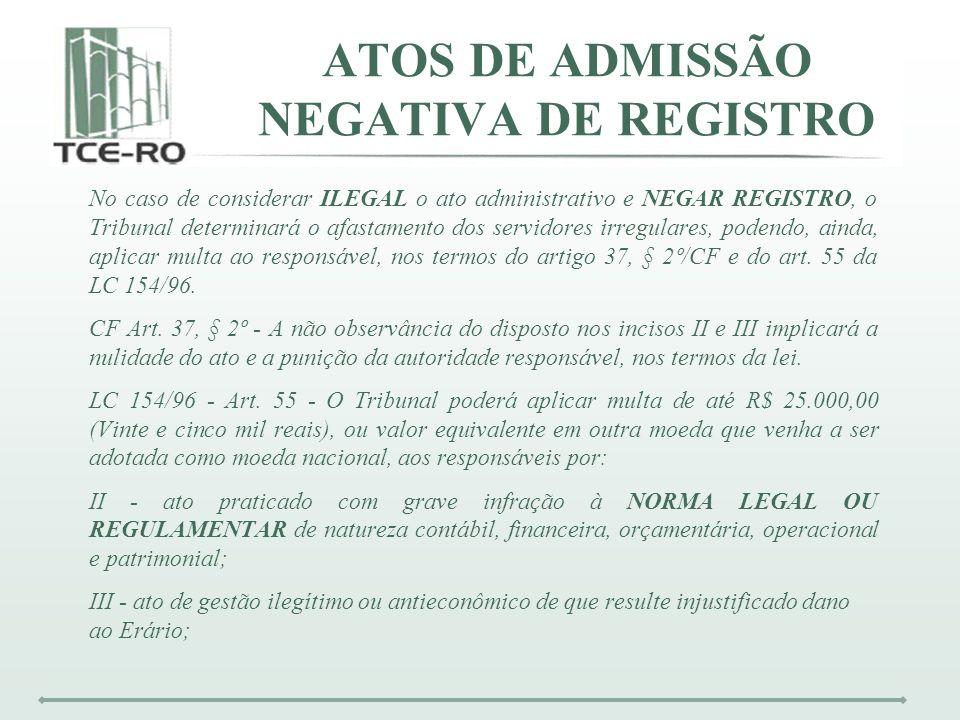 ATOS DE ADMISSÃO NEGATIVA DE REGISTRO