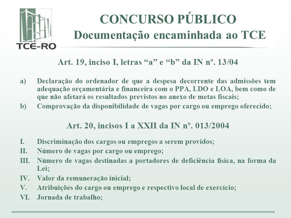 CONCURSO PÚBLICO Documentação encaminhada ao TCE