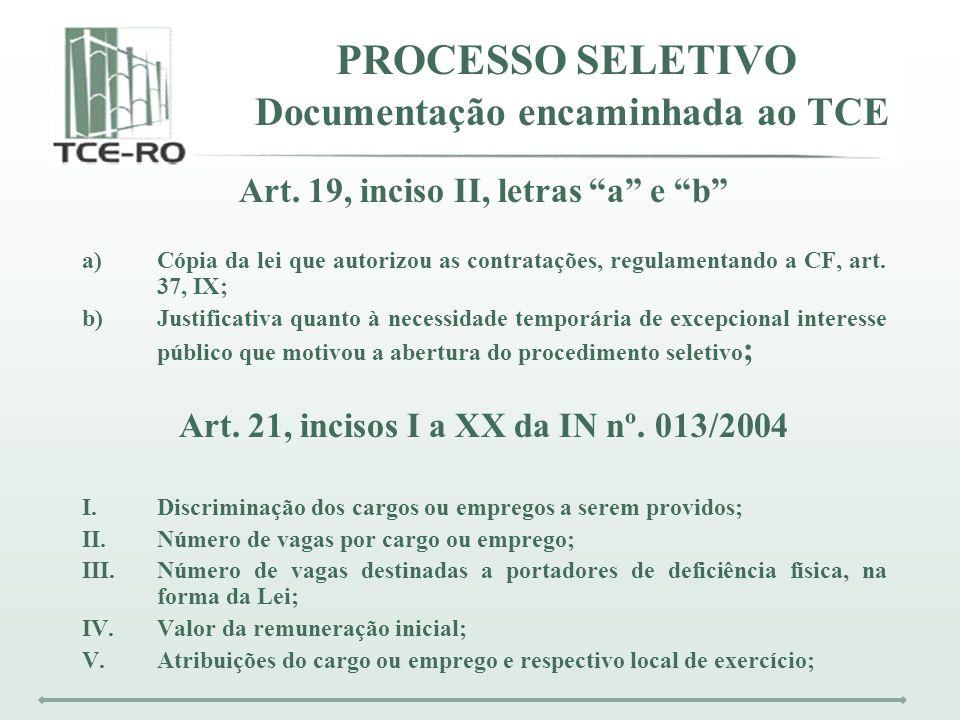 PROCESSO SELETIVO Documentação encaminhada ao TCE