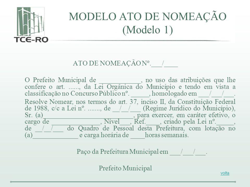 MODELO ATO DE NOMEAÇÃO (Modelo 1)