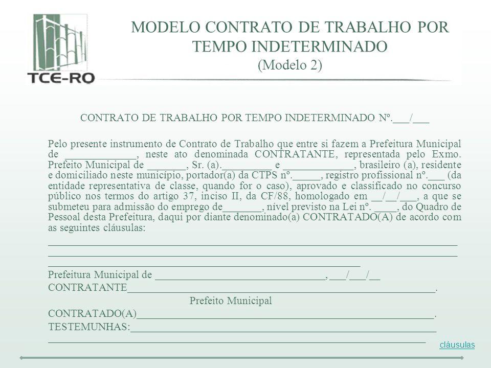 MODELO CONTRATO DE TRABALHO POR TEMPO INDETERMINADO (Modelo 2)