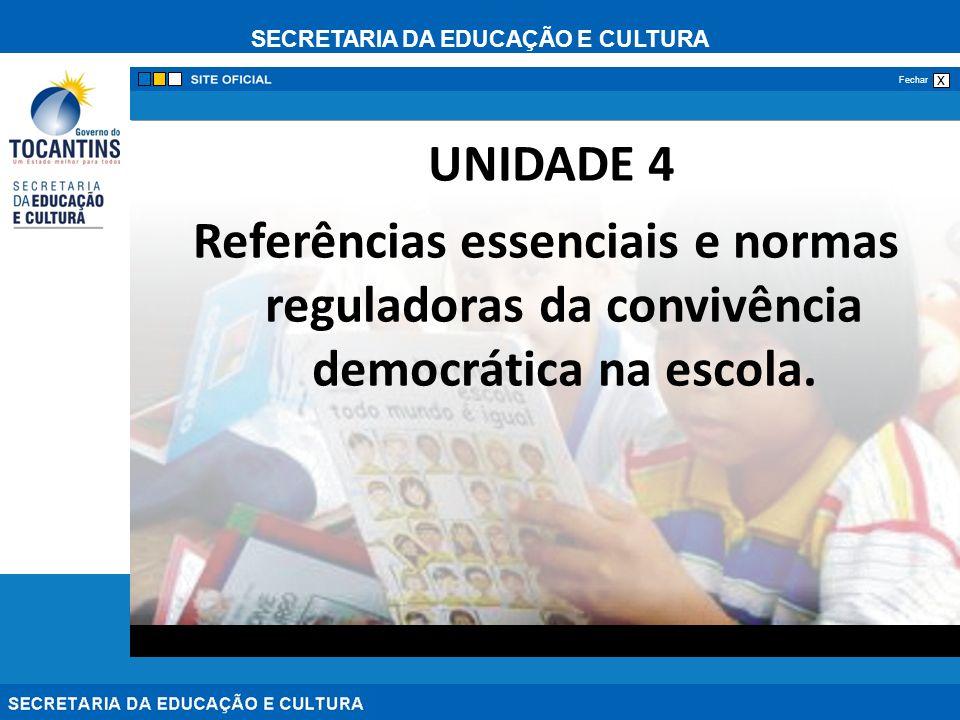 UNIDADE 4 Referências essenciais e normas reguladoras da convivência democrática na escola.