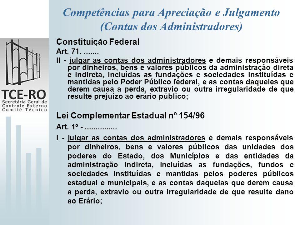 Competências para Apreciação e Julgamento (Contas dos Administradores)