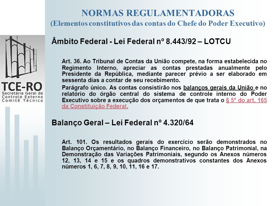 NORMAS REGULAMENTADORAS (Elementos constitutivos das contas do Chefe do Poder Executivo)