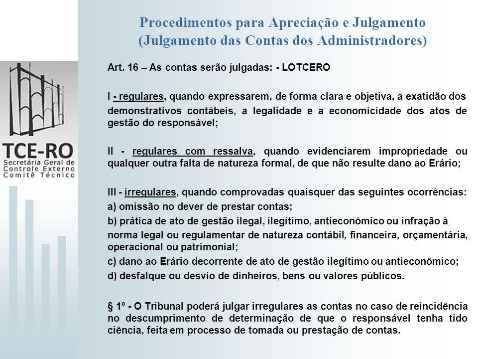 Procedimentos para Apreciação e Julgamento (Julgamento das Contas dos Administradores)