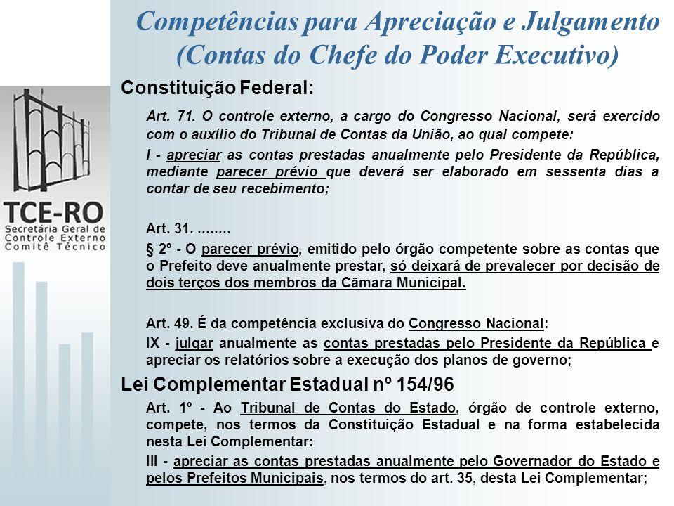 Competências para Apreciação e Julgamento (Contas do Chefe do Poder Executivo)