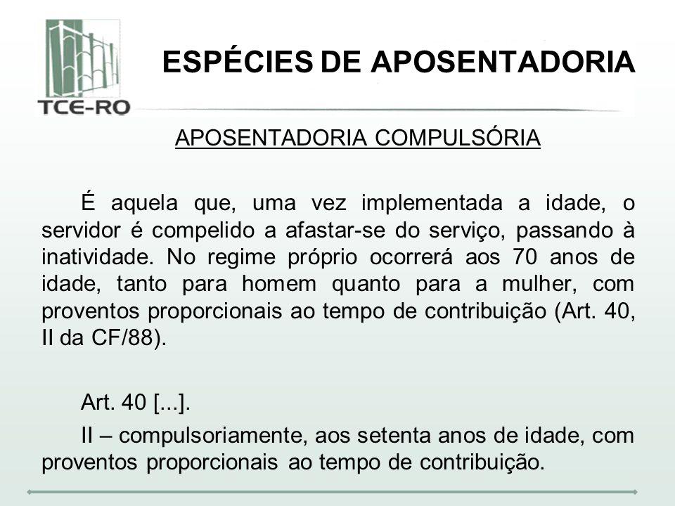 ESPÉCIES DE APOSENTADORIA