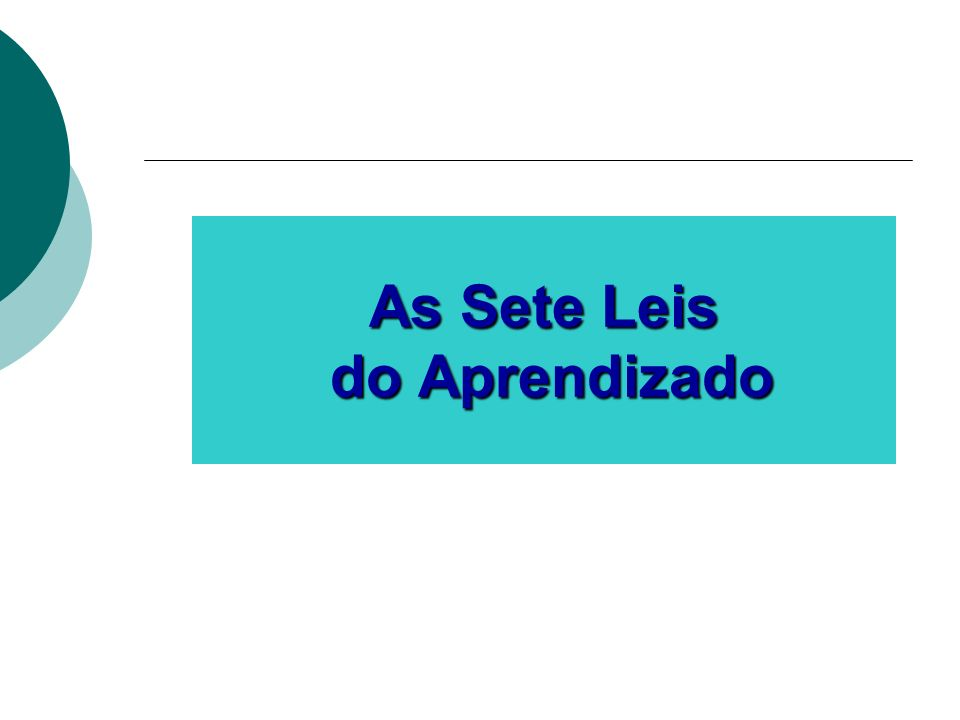 As Sete Leis do Aprendizado