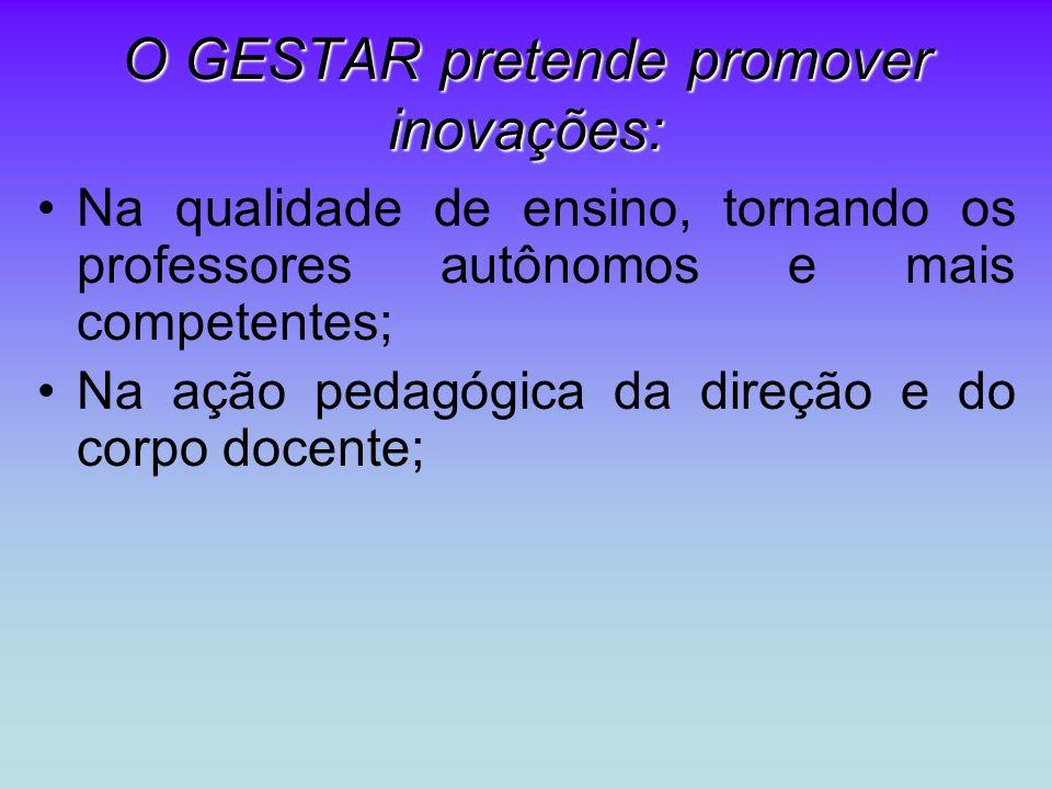 O GESTAR pretende promover inovações: