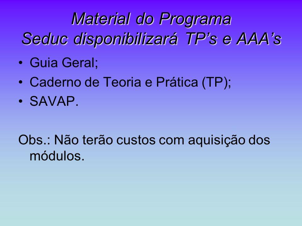Material do Programa Seduc disponibilizará TP's e AAA's