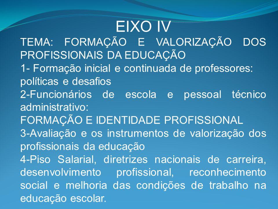 EIXO IV TEMA: FORMAÇÃO E VALORIZAÇÃO DOS PROFISSIONAIS DA EDUCAÇÃO
