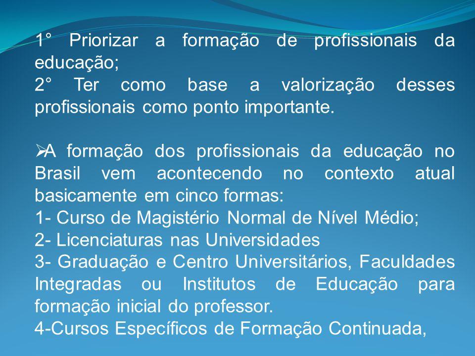 1° Priorizar a formação de profissionais da educação;