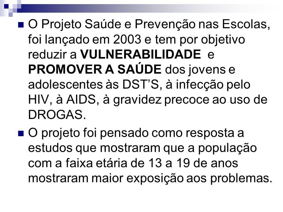 O Projeto Saúde e Prevenção nas Escolas, foi lançado em 2003 e tem por objetivo reduzir a VULNERABILIDADE e PROMOVER A SAÚDE dos jovens e adolescentes às DST'S, à infecção pelo HIV, à AIDS, à gravidez precoce ao uso de DROGAS.