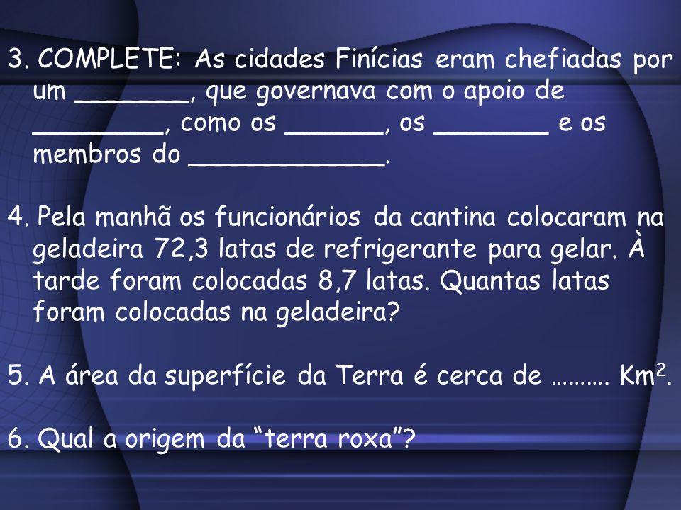3. COMPLETE: As cidades Finícias eram chefiadas por um _______, que governava com o apoio de ________, como os ______, os _______ e os membros do ____________.