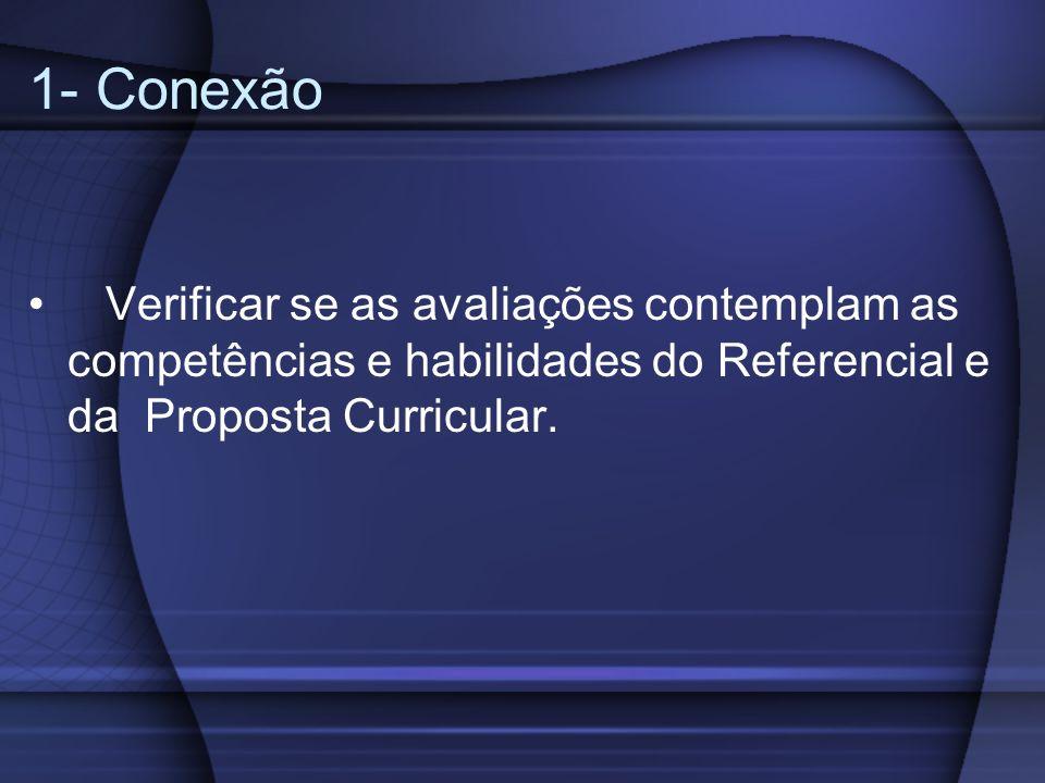 1- ConexãoVerificar se as avaliações contemplam as competências e habilidades do Referencial e da Proposta Curricular.