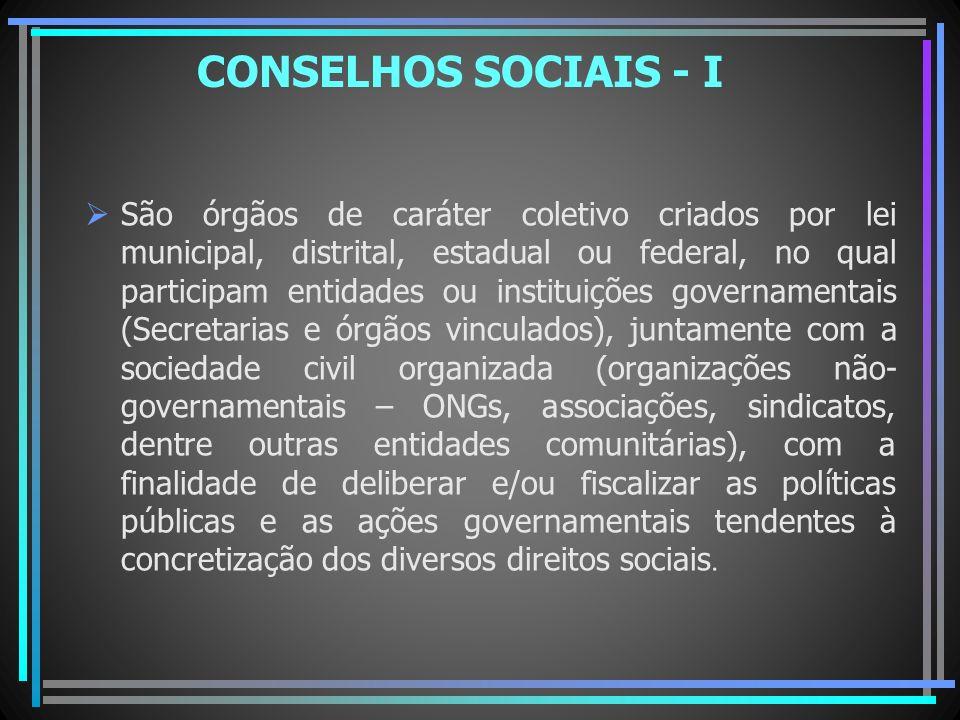 CONSELHOS SOCIAIS - I