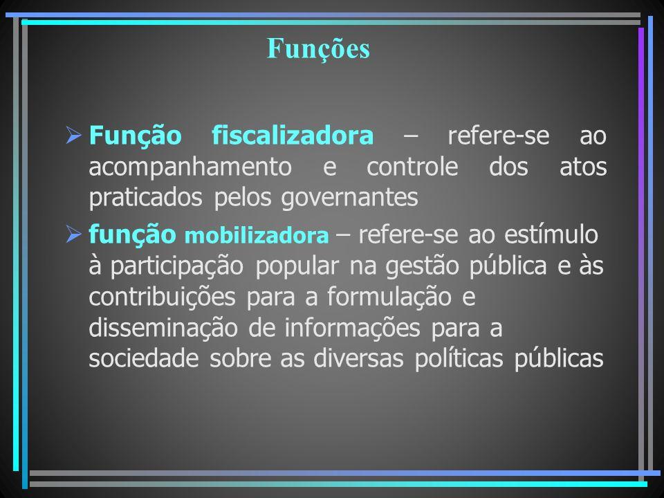 Funções Função fiscalizadora – refere-se ao acompanhamento e controle dos atos praticados pelos governantes.