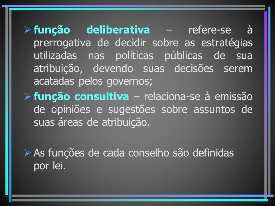 função deliberativa – refere-se à prerrogativa de decidir sobre as estratégias utilizadas nas políticas públicas de sua atribuição, devendo suas decisões serem acatadas pelos governos;