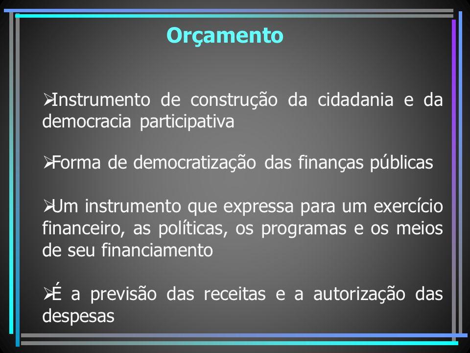 Orçamento Instrumento de construção da cidadania e da democracia participativa. Forma de democratização das finanças públicas.