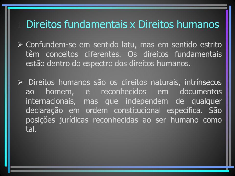 1. Direitos fundamentais x Direitos humanos