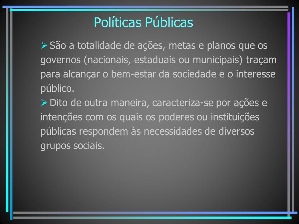 Políticas Públicas São a totalidade de ações, metas e planos que os