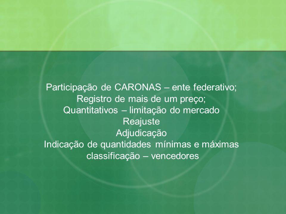 Participação de CARONAS – ente federativo;