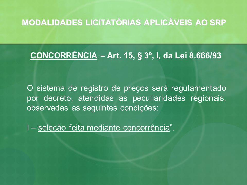 MODALIDADES LICITATÓRIAS APLICÁVEIS AO SRP
