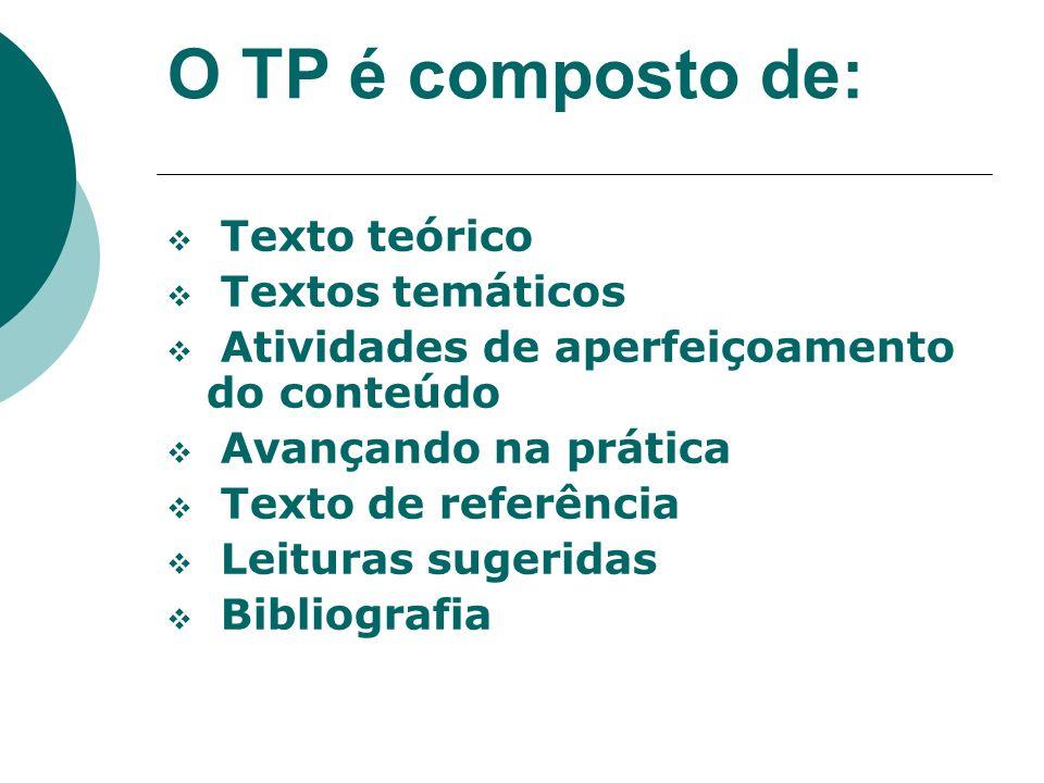 O TP é composto de: Texto teórico Textos temáticos