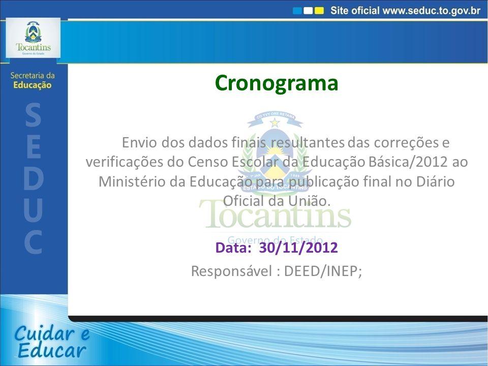 Responsável : DEED/INEP;