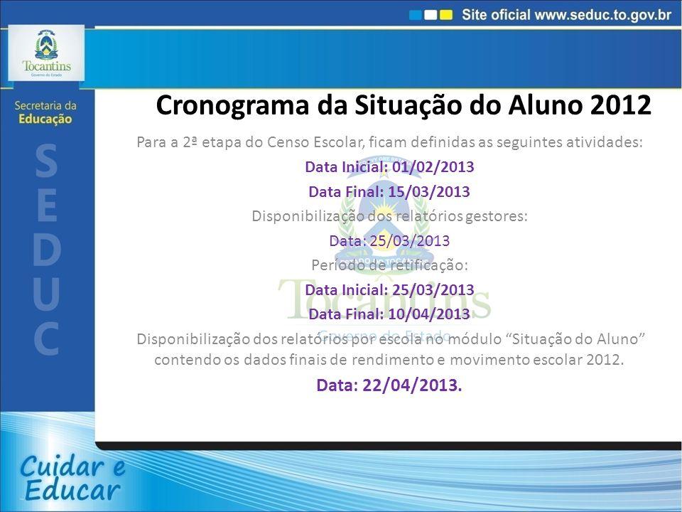 Cronograma da Situação do Aluno 2012