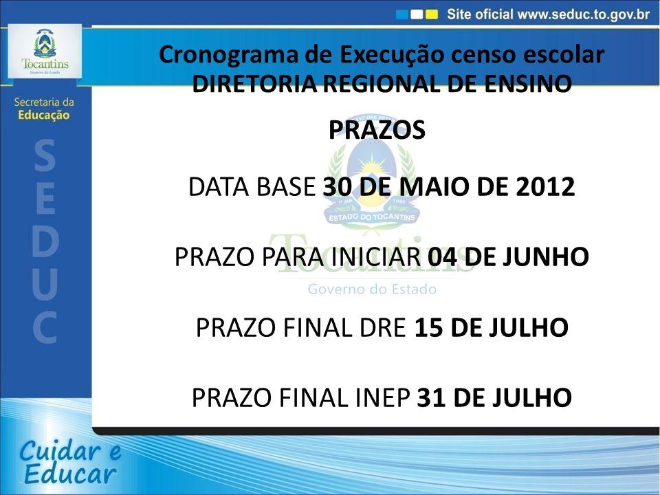 Cronograma de Execução censo escolar DIRETORIA REGIONAL DE ENSINO