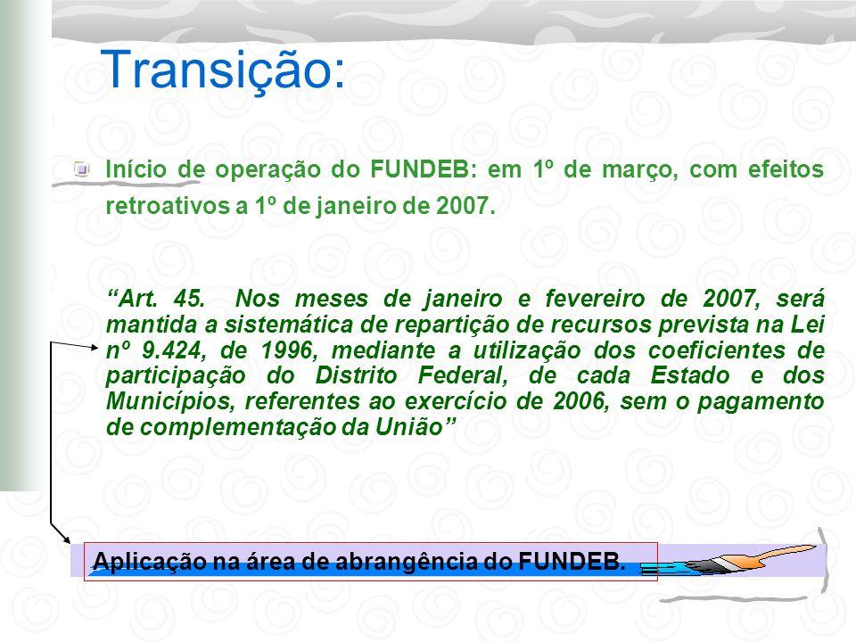 Transição: Início de operação do FUNDEB: em 1º de março, com efeitos retroativos a 1º de janeiro de 2007.