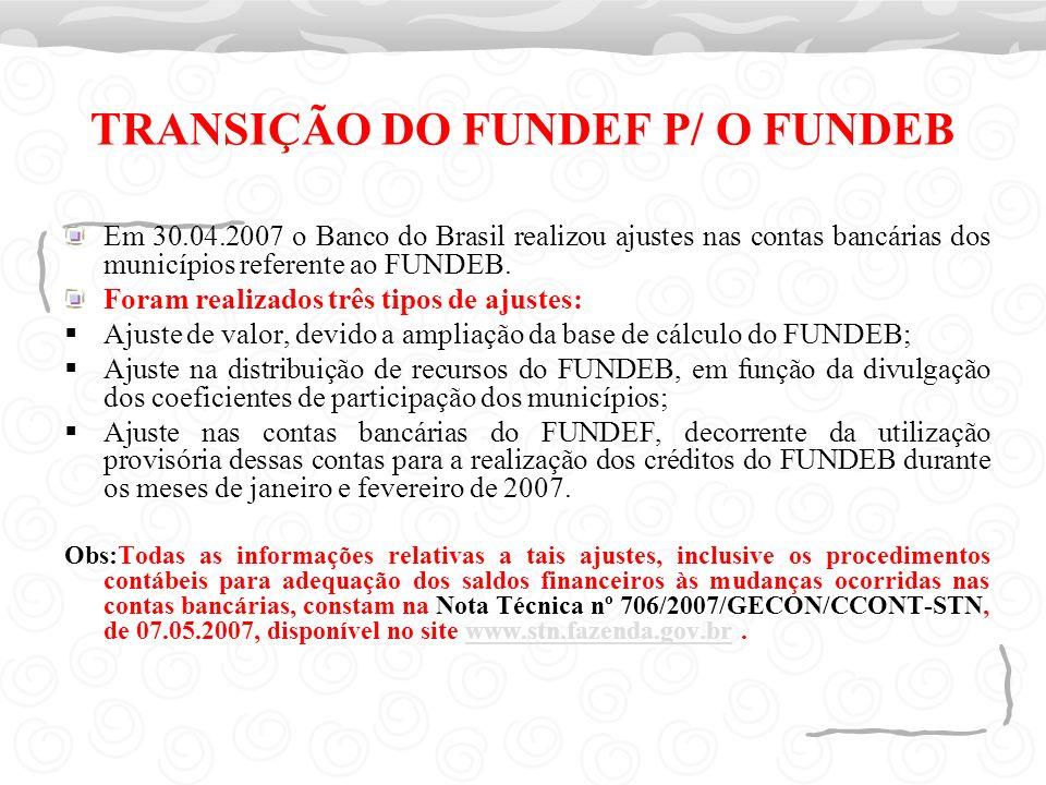 TRANSIÇÃO DO FUNDEF P/ O FUNDEB