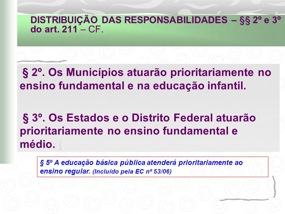 DISTRIBUIÇÃO DAS RESPONSABILIDADES – §§ 2º e 3º do art. 211 – CF.
