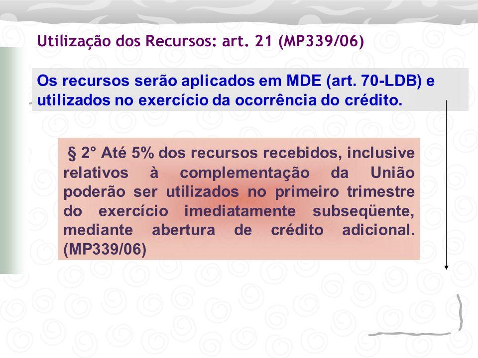 Utilização dos Recursos: art. 21 (MP339/06)
