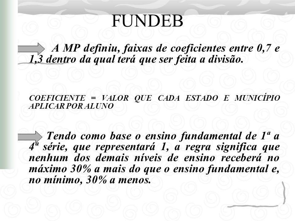 FUNDEB A MP definiu, faixas de coeficientes entre 0,7 e 1,3 dentro da qual terá que ser feita a divisão.