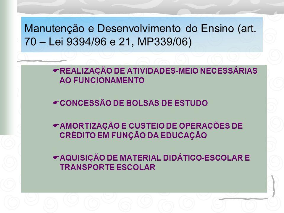 Manutenção e Desenvolvimento do Ensino (art