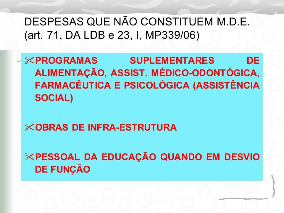 DESPESAS QUE NÃO CONSTITUEM M.D.E. (art. 71, DA LDB e 23, I, MP339/06)