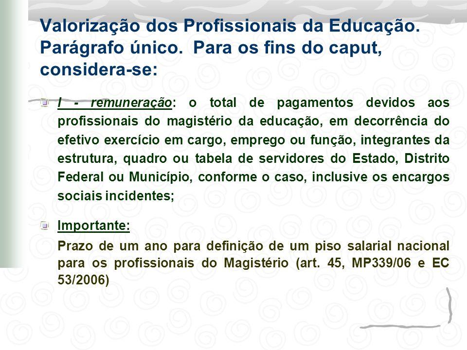 Valorização dos Profissionais da Educação. Parágrafo único
