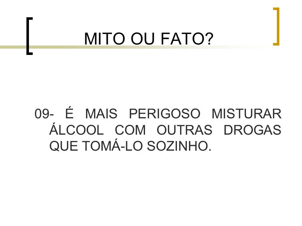 MITO OU FATO 09- É MAIS PERIGOSO MISTURAR ÁLCOOL COM OUTRAS DROGAS QUE TOMÁ-LO SOZINHO.