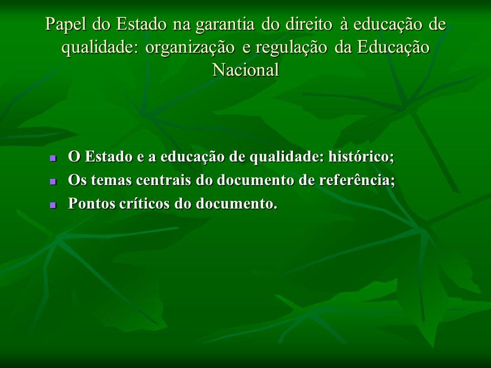 Papel do Estado na garantia do direito à educação de qualidade: organização e regulação da Educação Nacional