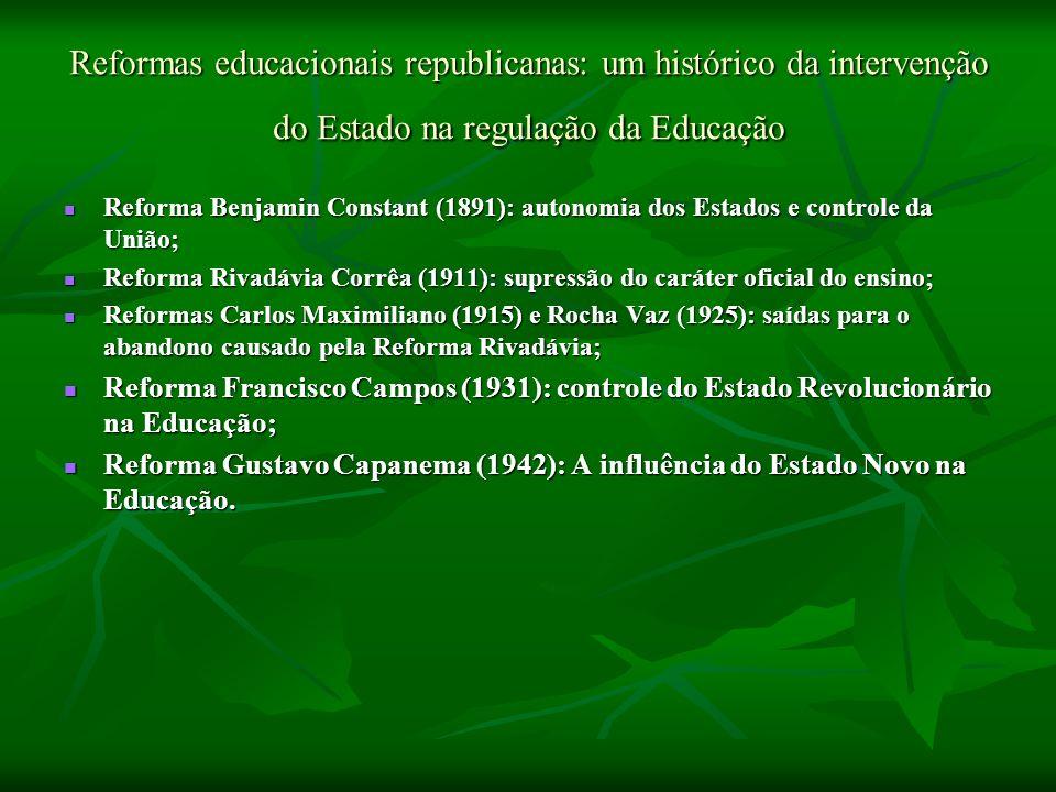 Reformas educacionais republicanas: um histórico da intervenção do Estado na regulação da Educação